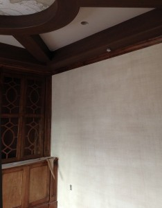 Textured and painted Linen Walls with faux Wood Beamsfor Hattas Public Murals