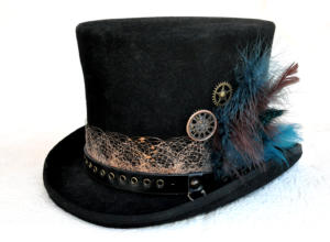 Top hat decorated with painted lace, grommets and feathers.